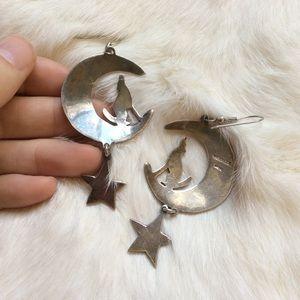 Vintage Jewelry - Big Silver Wolf Moon Bohemian Goddess Earrings